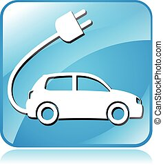 electric car icon - illustration of blue square icon for...