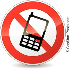 no phone sign - illustration of no phone round sign on white...