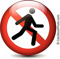 no run sign - illustration of no run round sign on white...