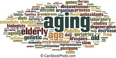 Aging word cloud concept Vector illustration