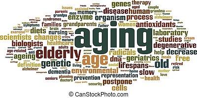 envelhecimento, palavra, nuvem,