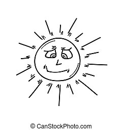 smiling sun on white background, isolated, vector