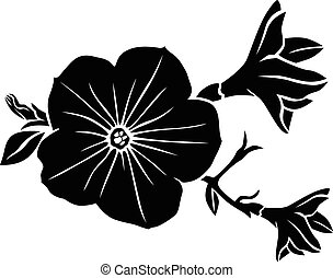 Petunia flower silhouette - Vector illustrations of...