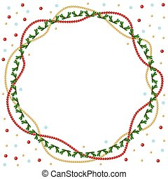 Christmas round greeting frame of gold and red beads and fir bra