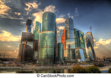 View of business district Moscow-City, Russia
