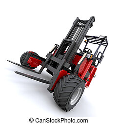 forklift truck - 3d render of forklift truck on white