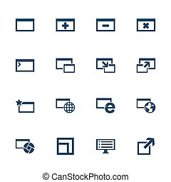 Computer icons - Set of flat icons with windows for browser