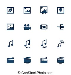Multimedia icons - Set of flat icons for multimedia...