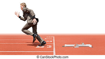 Business start - Businessman leaving the starting blocks - a...