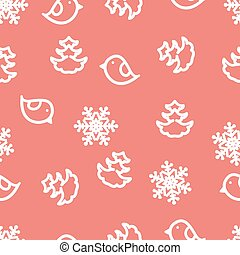 Seamless winter background with snowflakes, birds and christmas trees.