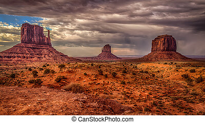 The storm is coming - Cloudly sky coming on Monument Valley...