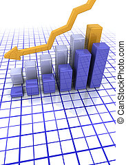 Bar chart - 3D render of a bar chart showing falling profits