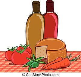 still life of mediterranean foods on tablecloth