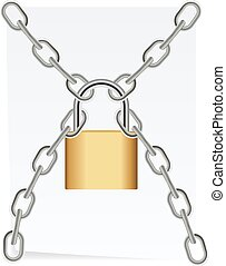 Paper chain with a lock. Vector illustration design