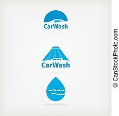 Logo car wash - Three blue logo for car wash .Vector...