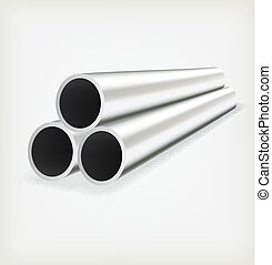 Metal tube - Three metal chrome pipe. Vector Template design...