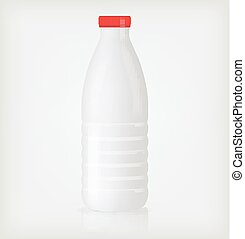 Plastic bottle with red lid. Template design