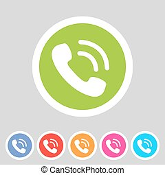 phone telephone flat icon set with shadows