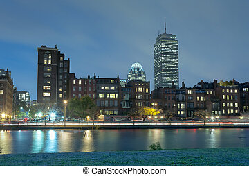 Boston Charles River Basin at night, Boston Massachusetts.