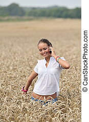 young attractive woman on the phone