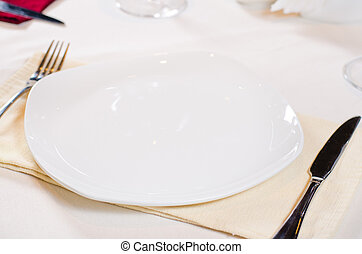 High Angle of Place Setting with White Plate