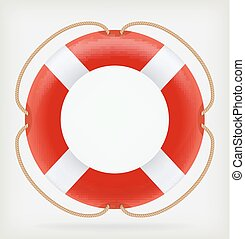 Red Life Buoy. Vector illustration. Template design