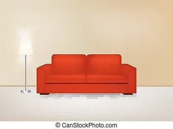 Brown interior with sofa