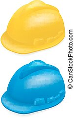 Hard hat - Yellow and blue  hard hat on white