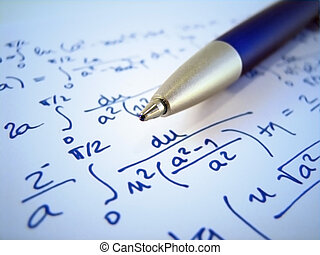 Math exercise - Pen and a mathematical exercise calculations...