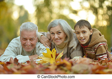 abuelos, y, nieto,