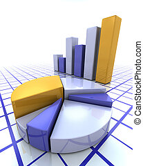 Bar chart and pie chart - 3D render of a bar chart and pie...