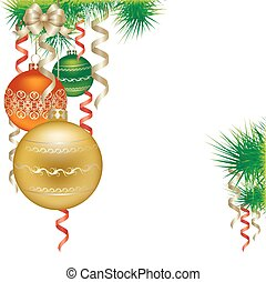 Christmas  balls, isolated on white background vector