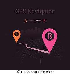 navigator - Navigator paved route. Vector illustration