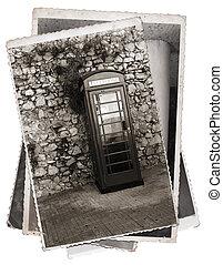 Vintage photo Phone booth - Vintage photos old telephone box...