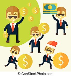 Set of cheerful businessman with his money. Success always...