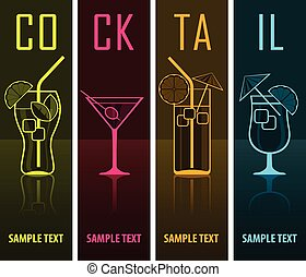 Four cocktail silhouettes on dark