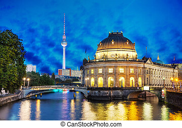 Berlin cityscape in the night - Berlin, Germany cityscape in...