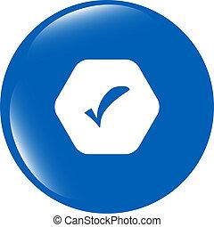 teia, sinal, botão, isolado, marca, lustroso, branca, cheque, ícone
