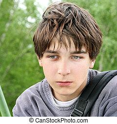 Sad Teenager - Portrait of Sad Teenager on the Summer Trees...