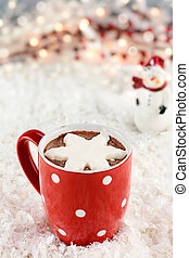 Hot Cocoa with Whipped Cream - Vibrant red cup of hot...