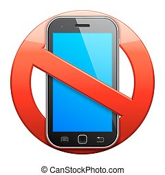 No cell phone sign. - No cell phone sign on white...