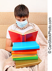Sick Teenager in Flu Mask with the Books on the Sofa