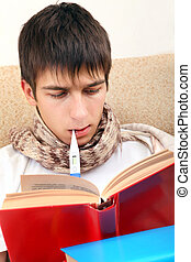 Sick Teenager with Thermometer reads the Books at the Home