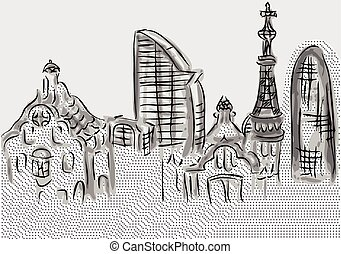 barcelona. abstrtact skyline of city buildings