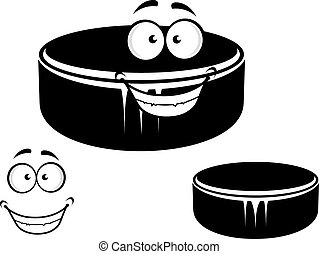 Happy smiling hockey puck - Happy smiling cartoon black...