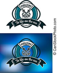 Nautical themed badge with life buoy - Nautical themed...