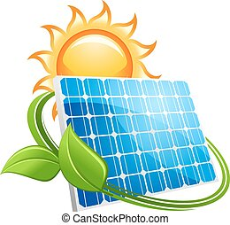 Solar panel and sun icon - Solar panel icon with a golden...