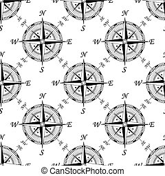 Vintage compass seamless pattern