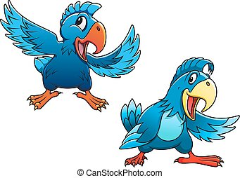 Cute blue cartoon parrot birds characters with curved beaks...
