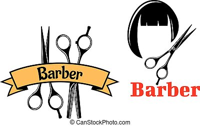 Barber icons and emblems, one showing two scissors with a...